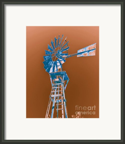 Windmill Blue Framed Print By Rebecca Margraf