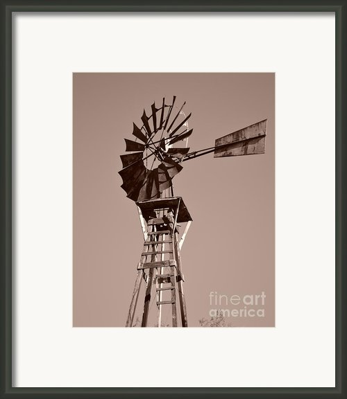 Windmill Sepia Framed Print By Rebecca Margraf