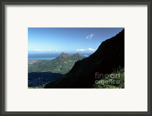 Windward Oahu From The Koolau Mountains Framed Print By Thomas R Fletcher
