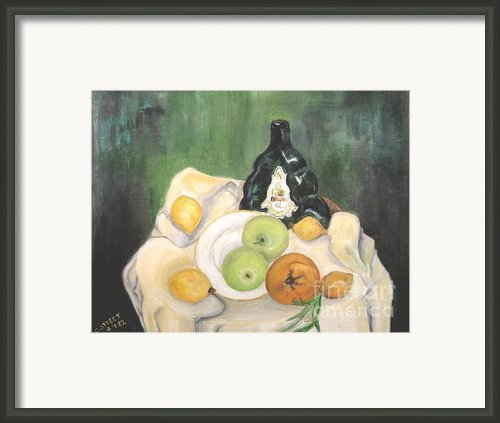 Wine And Fruit Framed Print By Caroline Street
