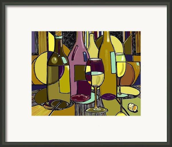 Wine Bottle Deco Framed Print By Peggy Wilson