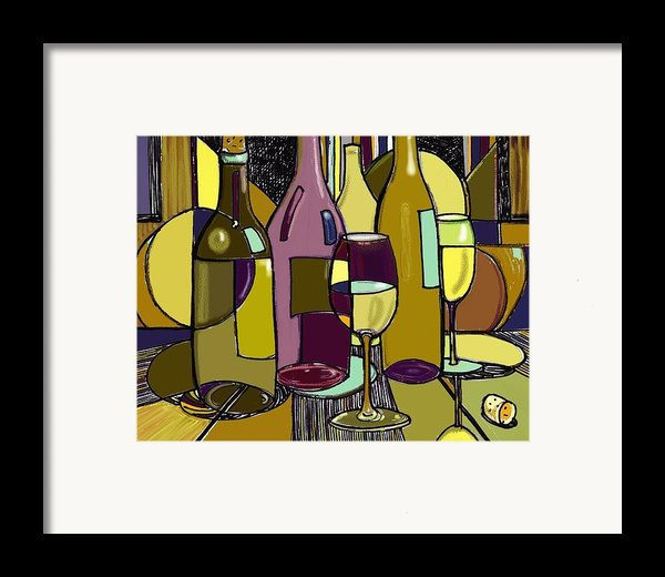 Wine Bottle Deco Framed Print By Peggy Wilson