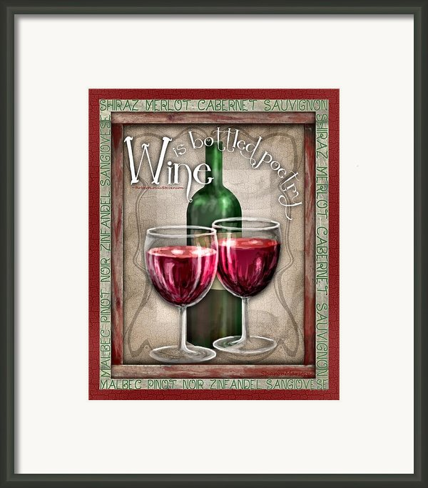 Wine Poetry Framed Print By Sharon Marcella Marston