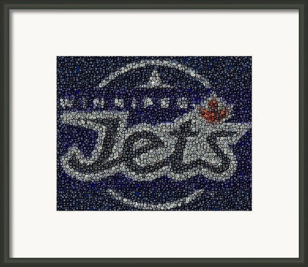 Winnipeg Jets Puck Mosaic Framed Print By Paul Van Scott