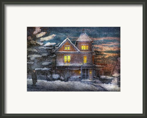 Winter - Clinton Nj - A Victorian Christmas  Framed Print By Mike Savad