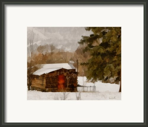 Winter Cabin Framed Print By Ernie Echols