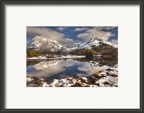 Winter Dawn Reflection Of Mount Framed Print By Colin Monteath