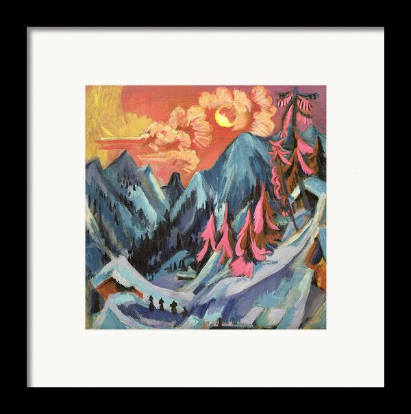 Winter Landscape In Moonlight Framed Print By Ernst Ludwig Kirchner
