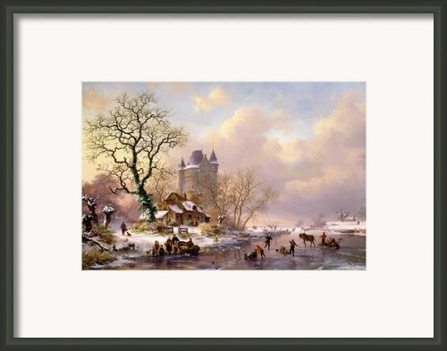 Winter Landscape With Castle Framed Print By Frederick Marianus Kruseman
