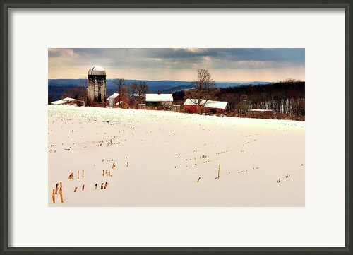 Winter Scene - Tanners Farm Of Warren Connecticut Framed Print By Thomas Schoeller