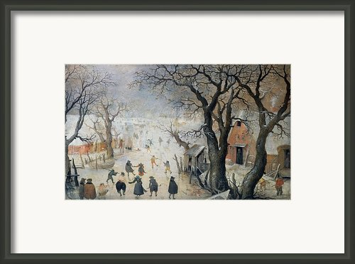 Winter Scene Framed Print By Hendrik Avercamp