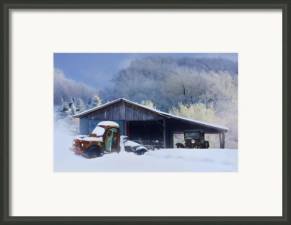 Winter Shed Framed Print By Ron Jones