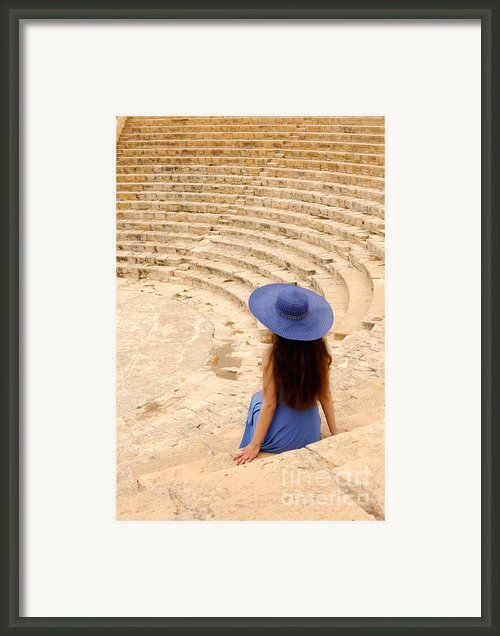 Woman At Greco-roman Theatre At Kourion Archaeological Site In C Framed Print By Oleksiy Maksymenko