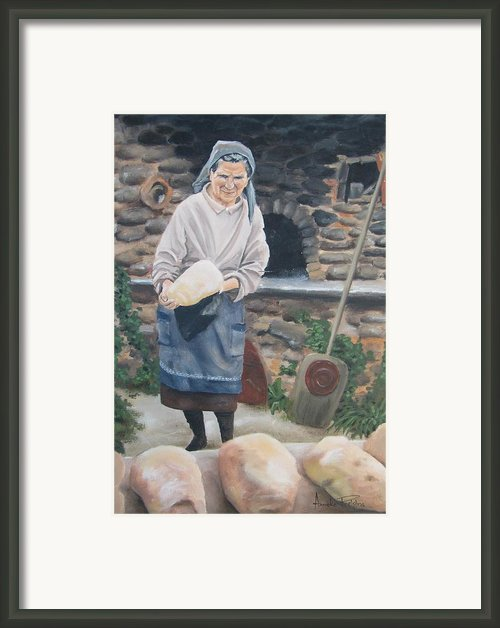 Woman Baking Bread  Framed Print By Anna Poelstra Traga