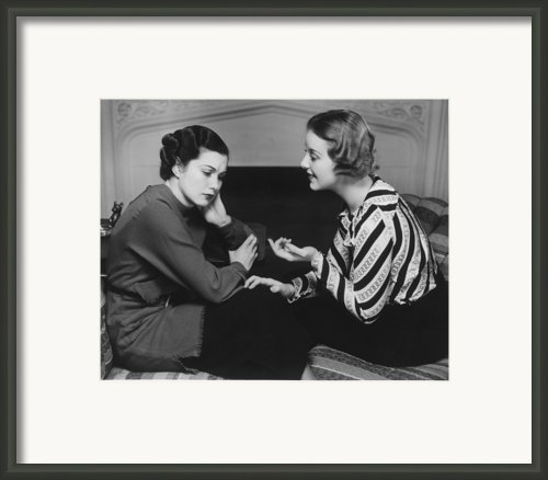 Woman Consoling Friend At Fireplace, (b&w) Framed Print By George Marks
