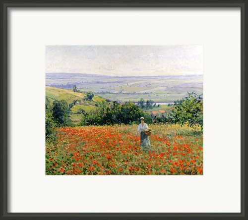 Woman In A Poppy Field Framed Print By Leon Giran Max
