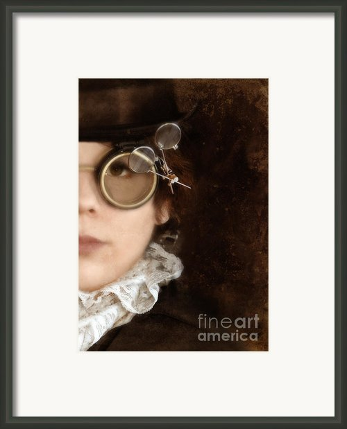 Woman In Steampunk Clothing  Framed Print By Jill Battaglia