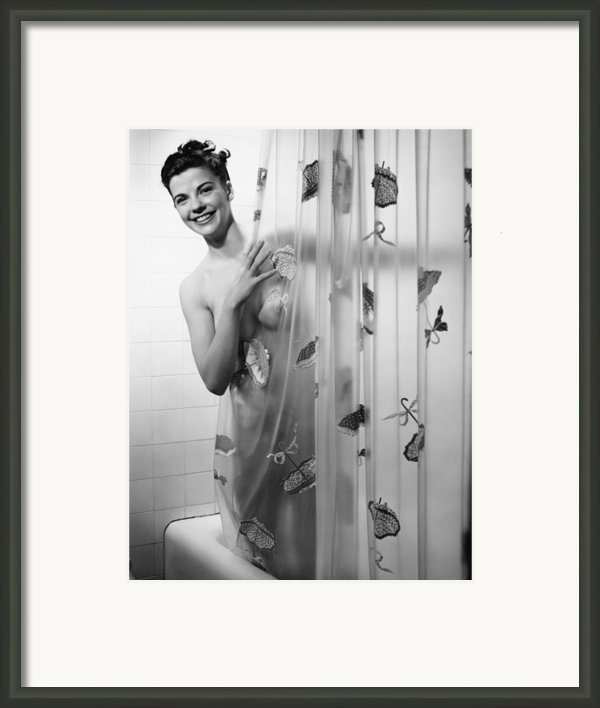 Woman Peering Through Shower Curtain, (b&w), Portrait Framed Print By George Marks