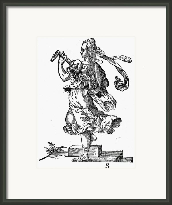 Woman Playing The Lute Framed Print By Granger