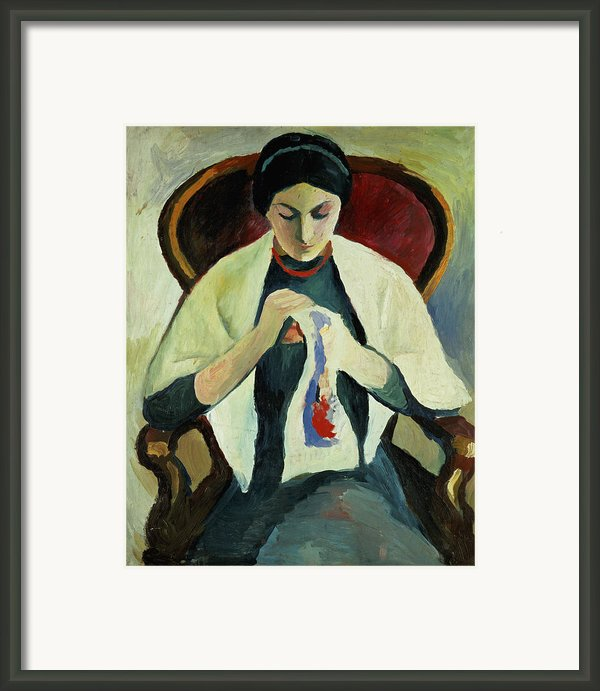 Woman Sewing Framed Print By August Macke