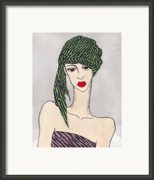Woman Wearing A Turban Framed Print By Dorrie Ratzlaff