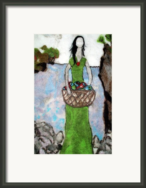 Woman With A Basket Of Fish Framed Print By Jill Dodd