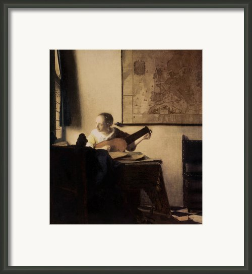 Woman With A Lute Framed Print By Jan Vermeer