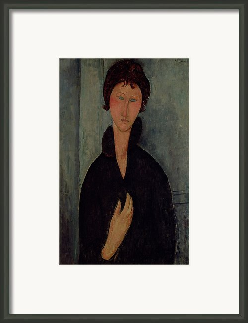 Woman With Blue Eyes Framed Print By Amedeo Modigliani