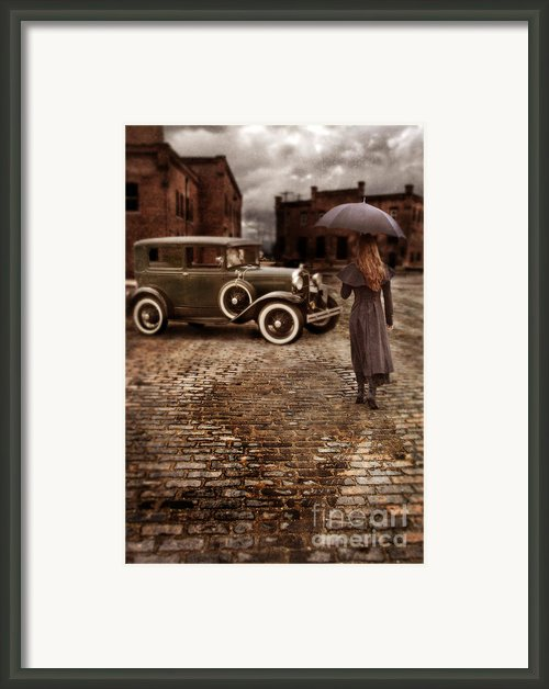 Woman With Umbrella By Vintage Car Framed Print By Jill Battaglia