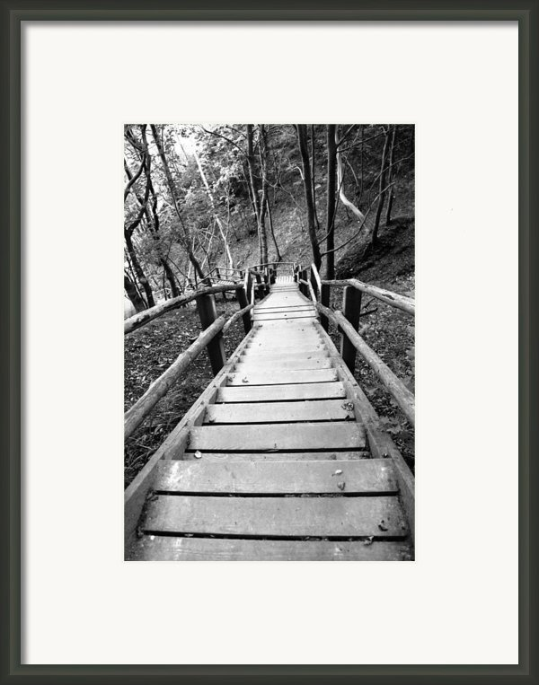Wooden Stairs Framed Print By Falko Follert