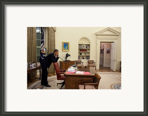 Working Late President Barack Obama Framed Print By Everett