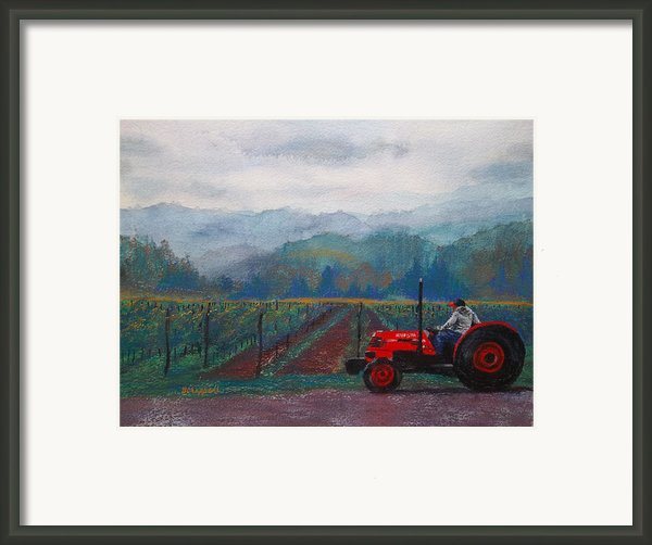 Working The Vineyard Framed Print By Becky Chappell