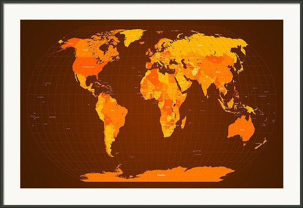 World Map Fall Colours Framed Print By Michael Tompsett