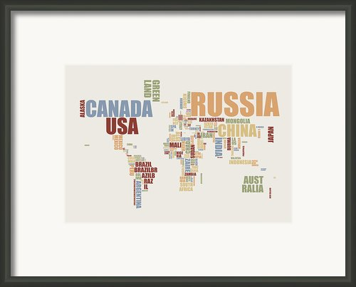 World Map In Words 2 Framed Print By Michael Tompsett