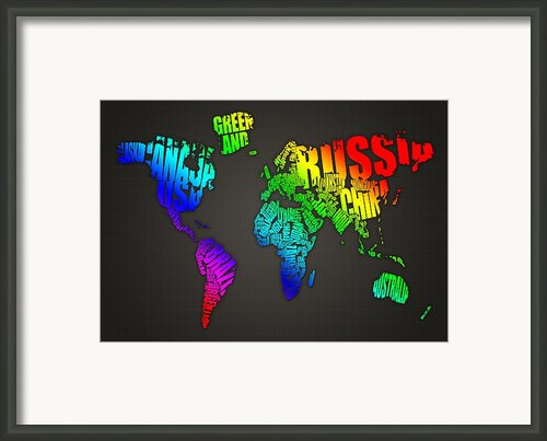 World Map In Words Framed Print By Michael Tompsett