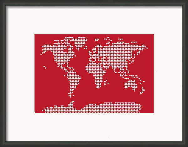 World Map Love Hearts Framed Print By Michael Tompsett