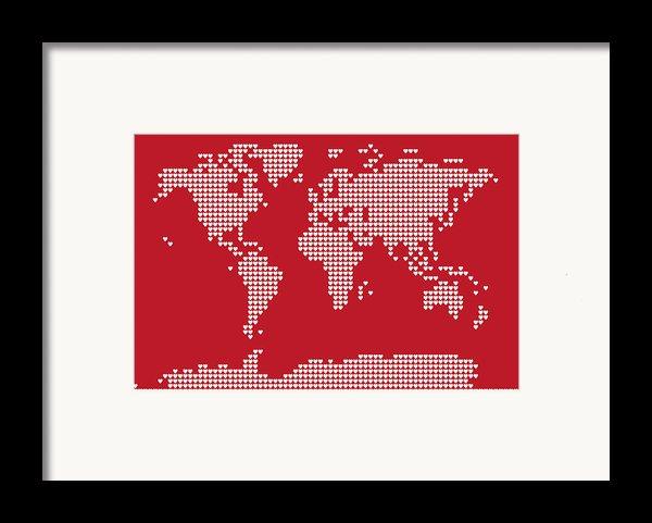 World Map Love Hearts Framed Print By Michael Tompsett
