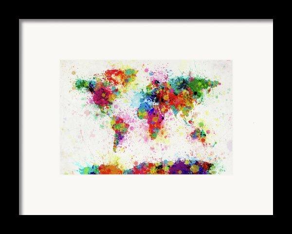 World Map Paint Drop Framed Print By Michael Tompsett