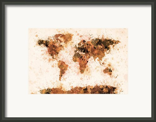 World Map Paint Splashes Bronze Framed Print By Michael Tompsett