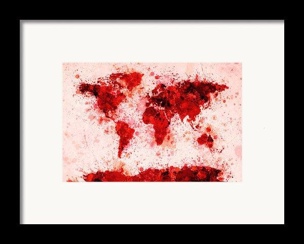 World Map Paint Splashes Red Framed Print By Michael Tompsett