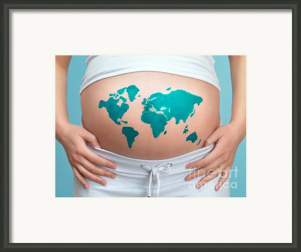 World Map Painted On Pregnant Woman