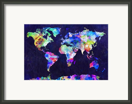 World Map Urban Watercolor Framed Print By Michael Tompsett