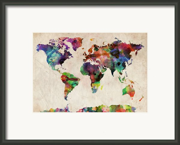 World Map Watercolor Framed Print By Michael Tompsett