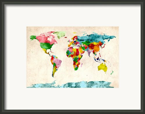 World Map Watercolors Framed Print By Michael Tompsett