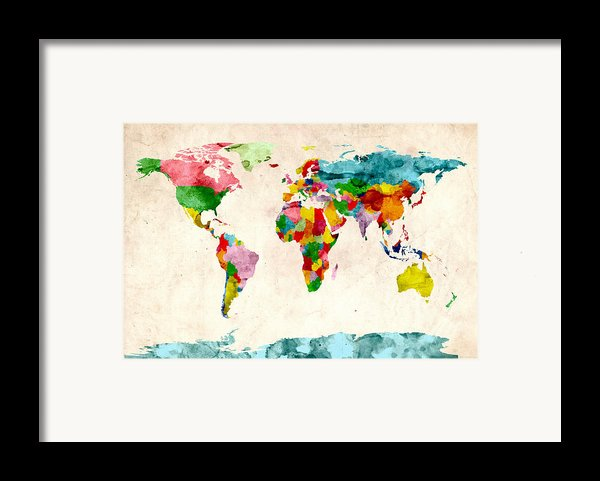 World Map Watercolors Framed Print By Michael Tompsett