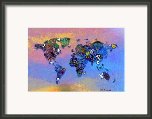 World Peace Tye Dye Framed Print By Bill Cannon