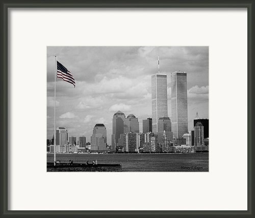 World Trade Towers With Flag In Color Framed Print By Harvey Engen