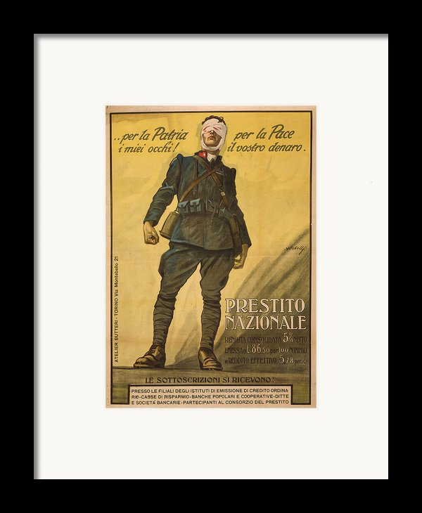 World War I, Poster Shows A Wounded Framed Print By Everett