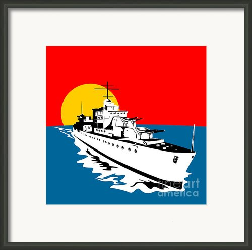World War Two Battleship Warship Cruiser Retro Framed Print By Aloysius Patrimonio