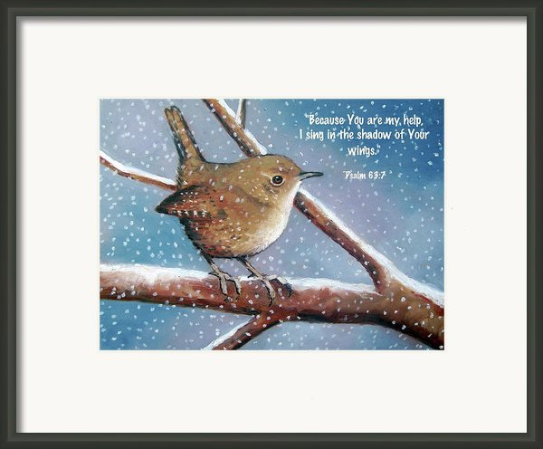 Wren In Snow With Bible Verse Framed Print By Joyce Geleynse